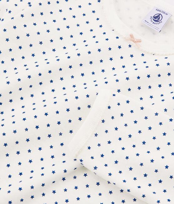 Pigiama bambina a costine bianco Marshmallow / blu Major Cn