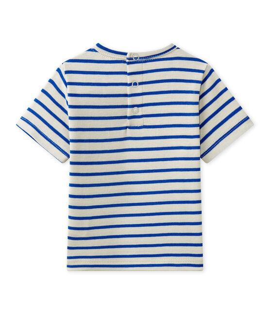 T-shirt bebé bambino a maniche corte rigata bianco Feta / blu Perse