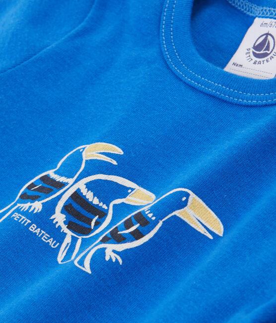 T-shirt a tinta unita bebè maschio blu Delft