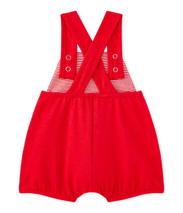 Salopette corta bebé bambina in jersey pesante rosso Terkuit
