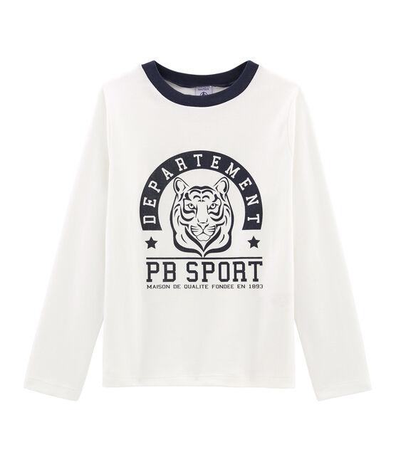T-shirt serigrafata a manica lunga bambino bianco Marshmallow