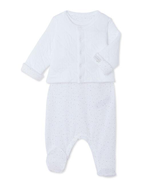 Insieme bebè cardigan + tutina bianco Ecume