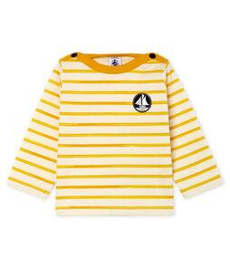T-shirt a manica lunga bebè maschio a righe bianco Marshmallow / giallo Boudor