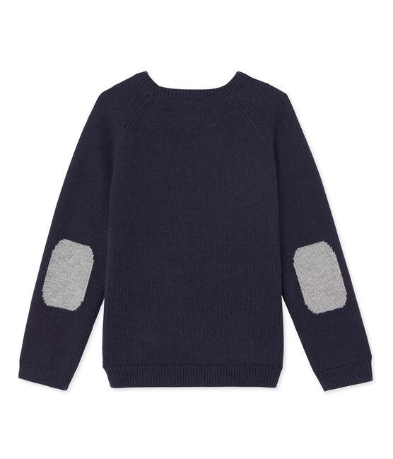 Pull in lana e cotone blu Smoking