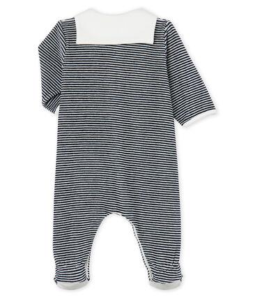 Tutina pigiama bebè maschio in ciniglia blu Smoking / bianco Marshmallow