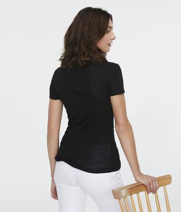 T-shirt a costine leggera donna nero Noir