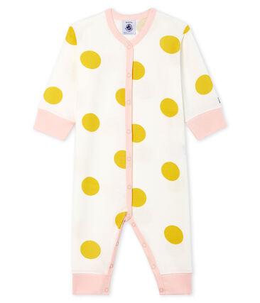 Tutina senza piedi a costine per bebé femmina bianco Marshmallow / giallo Ble
