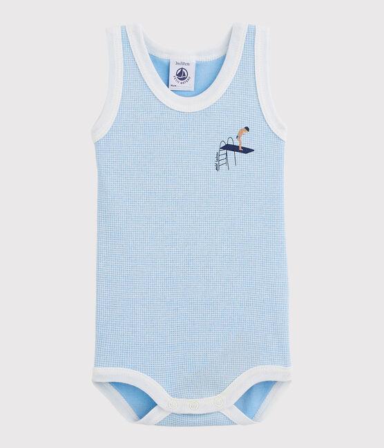 Body senza maniche bebè maschio blu Placid / bianco Marshmallow