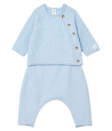Completo due pezzi bebè in cotone, lana merino e poliestere blu Toudou