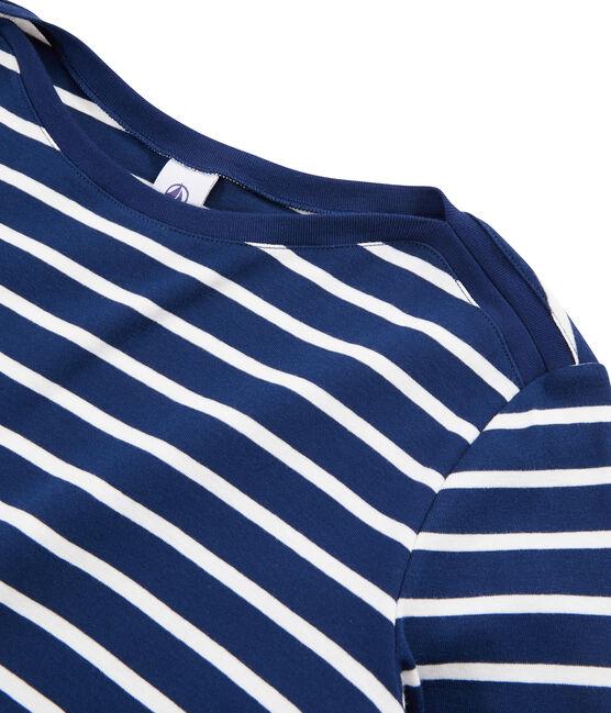 T-shirt alla marinara donna blu Medieval / bianco Marshmallow