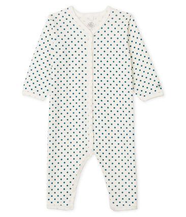 Tutina senza piedi a costine bebè femmina bianco Marshmallow / blu Contes