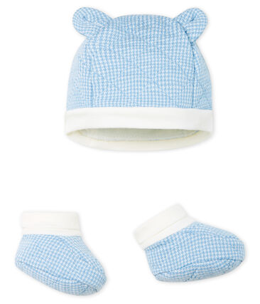 Confezione cuffietta e babbucce bebè maschio in tubique trapuntato. lotto .
