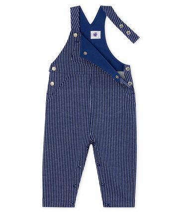 Salopette lunga maschietto in maglia a righe blu Smoking / bianco Marshmallow