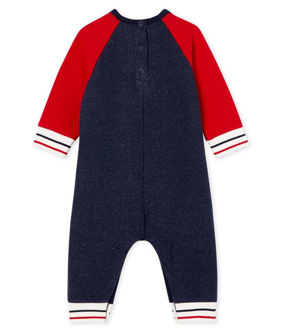 Tutina lunga da bebè maschio in molleton blu Smoking / rosso Terkuit
