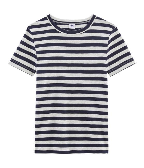 T-shirt manica corta iconica donna blu Smoking / grigio Beluga