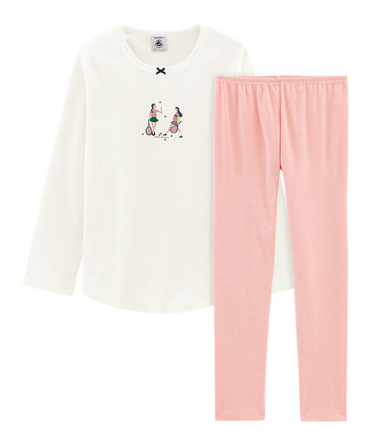 Pigiama bambina a costine bianco Marshmallow / rosa Rosako