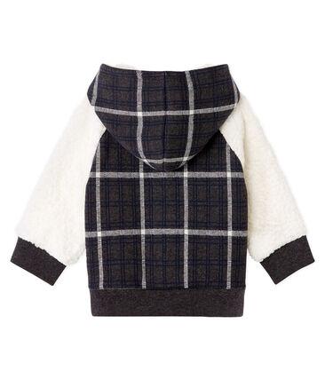 Felpa con cappuccio bebè maschio in maglia a scacchi e sherpa arricciato nero City / bianco Multico