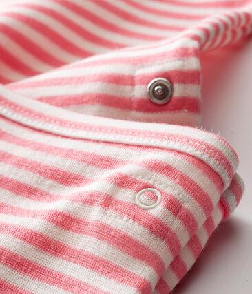 Body a maniche lunghe 2 in 1 bebé maschio rosa Cheek / bianco Marshmallow