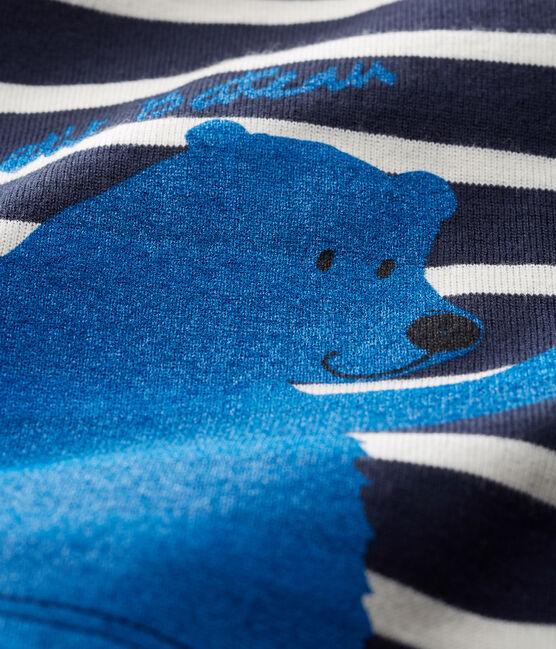 T-shirt a manica lunga bebè maschio a righe blu Smoking / bianco Marshmallow