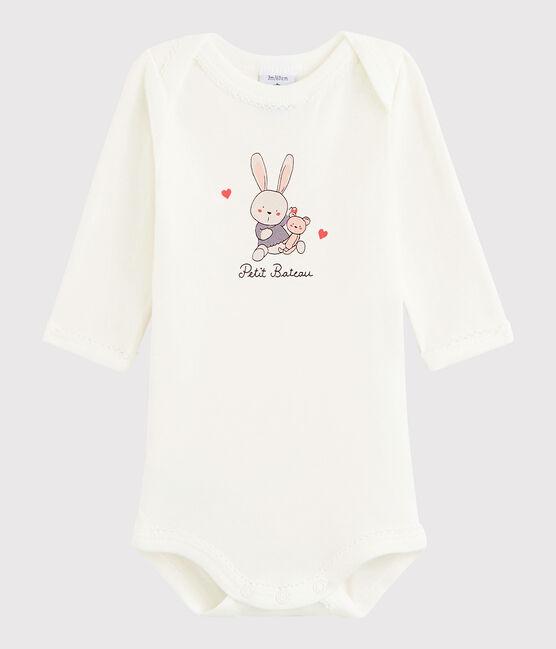 Body manica lunga bebè femmina bianco Marshmallow