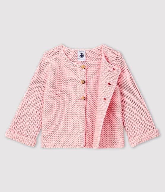 Cardigan lana e cotone bebè femmina rosa Minois