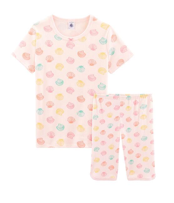Pigiama corto bambina a costine rosa Fleur / bianco Multico