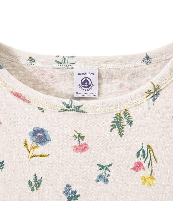 T-shirt bambina in tubique leggero stampata bianco Marshmallow / bianco Multico