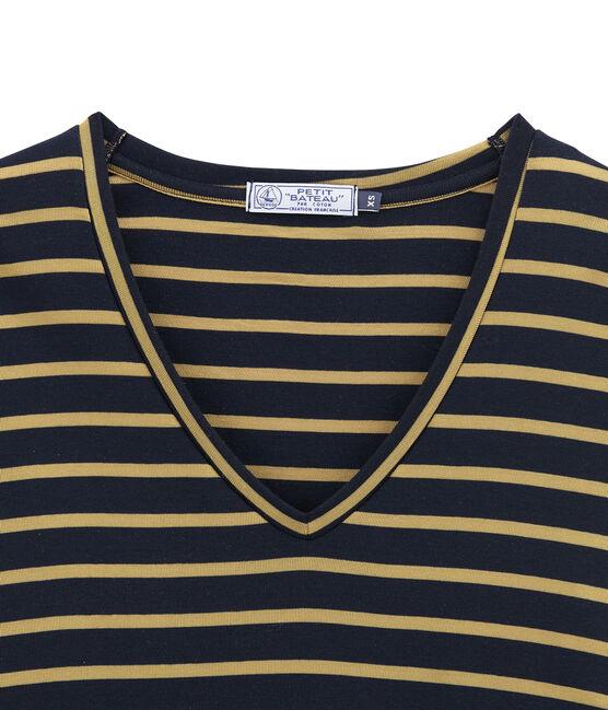 tee-shirtdonna maniche lunghe blu Smoking / giallo Brindille Satin