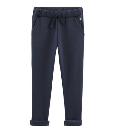 Pantalone bambino in caldo molleton blu Smoking