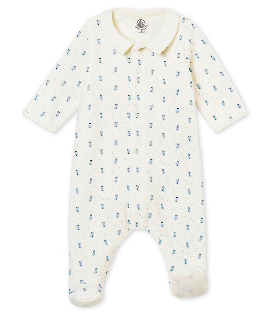 Bodygiama stampato in ciniglia per bebé maschio bianco Marshmallow / bianco Multico