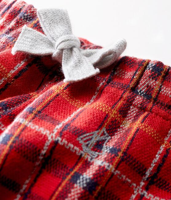 Pantalone maschietto in maglia a scacchi rosso Terkuit / bianco Multico