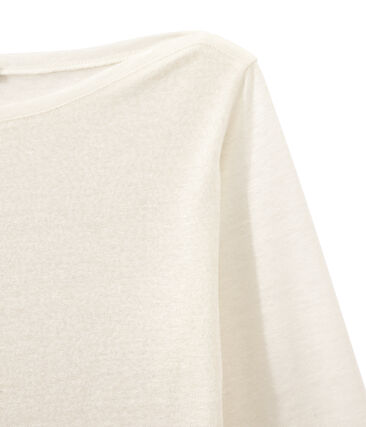 T-shirt donna a maniche lunghe in lino iridescente bianco Lait / giallo Or