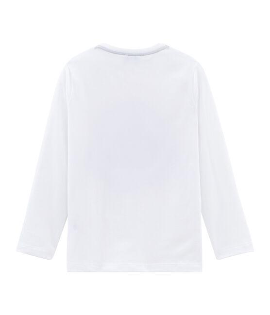 T-shirt maniche lunghe bambino unisex floccata bianco Marshmallow