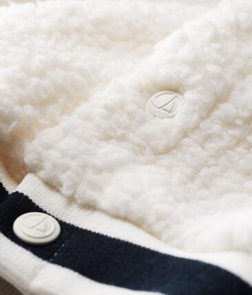 Cardigan neonato unisex in sherpa arricciato bianco Marshmallow