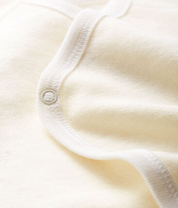 Body nascita manica lunga bebè in lana e cotone bianco Marshmallow