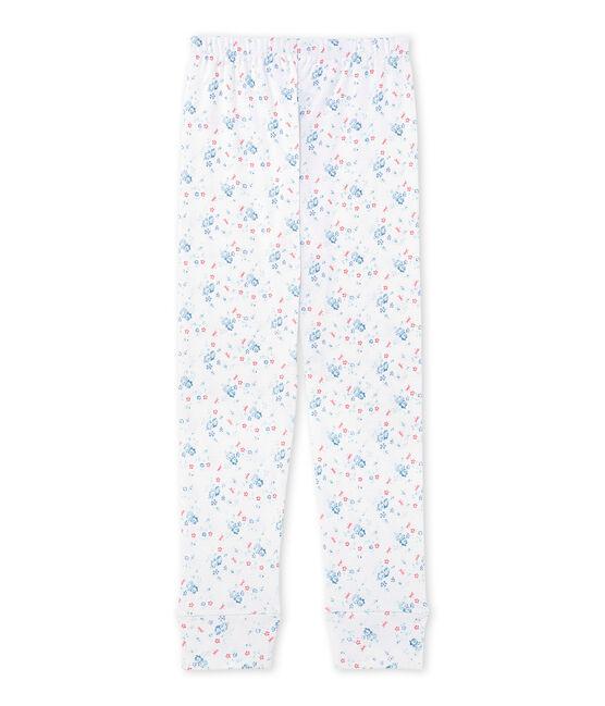 Pantaloni pigiama per bambina stampati da coordinare bianco Ecume / blu Bleu