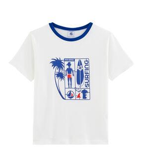 T-shirt bambino bianco Marshmallow / blu Surf