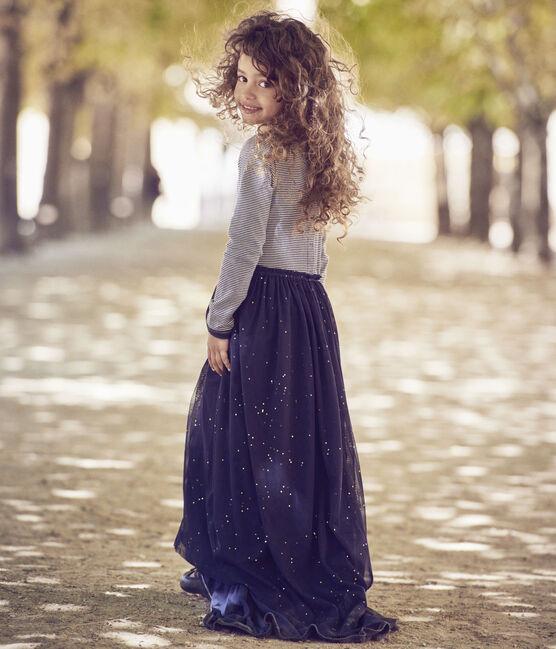 Abito bambina a maniche lunghe effetto 2-in-1 Petit bateau x Marie-Agnès Gillot blu Smoking / beige Coquille