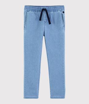 Pantaloni in molleton denim bambino blu Denim clair
