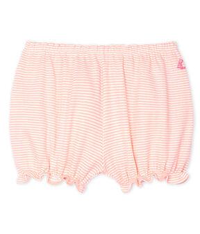 Culotte bloomer bebè femmina in fantasia millerighe rosa Patience / bianco Marshmallow