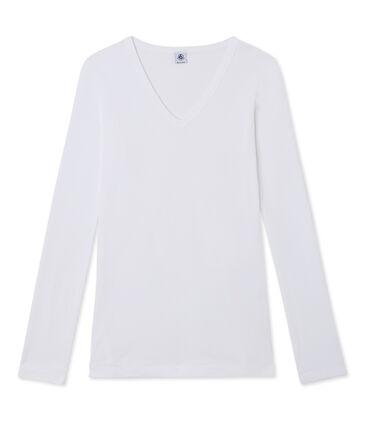 T-shirt donna a maniche lunghe con scollo a V bianco Ecume
