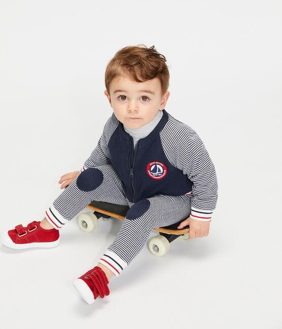 Cardigan zippato bebè maschio in tubique blu Smoking / bianco Marshmallow
