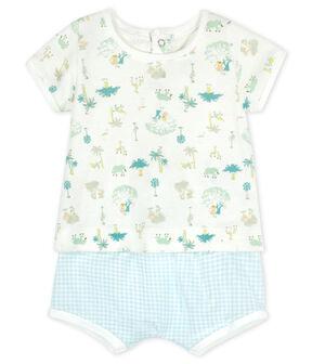 Completo due pezzi bebè maschio bianco Marshmallow / bianco Multico