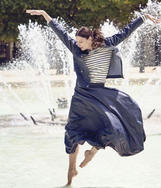 Marinière femme décolletée dans le dos. Petit bateau x Marie-Agnès Gillot beige Coquille / blu Smoking