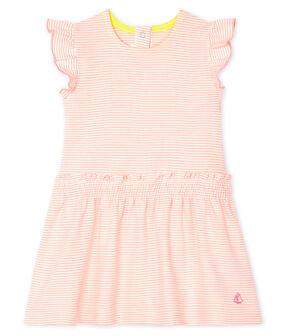 Abito millerighe bebè femmina rosa Patience / bianco Marshmallow
