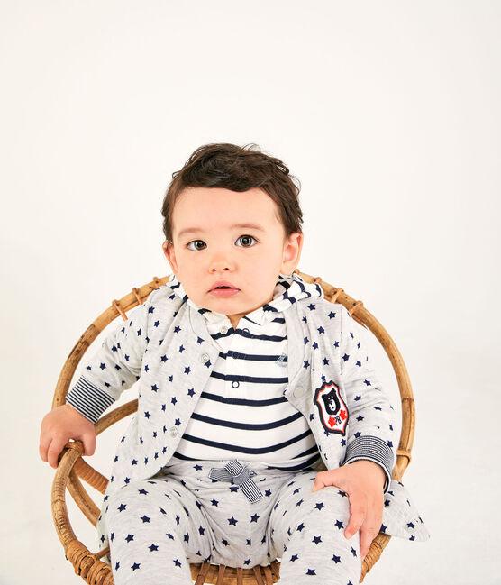 Cardigan bebè maschietto in tubique fantasia grigio Beluga / blu Smoking