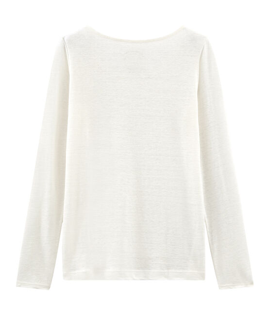 T-shirt maniche lunghe donna in lino bianco Marshmallow