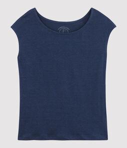 T-shirt in lino donna blu Medieval
