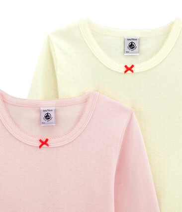 Lotto di 2 t-shirts a maniche lunghe per bambina