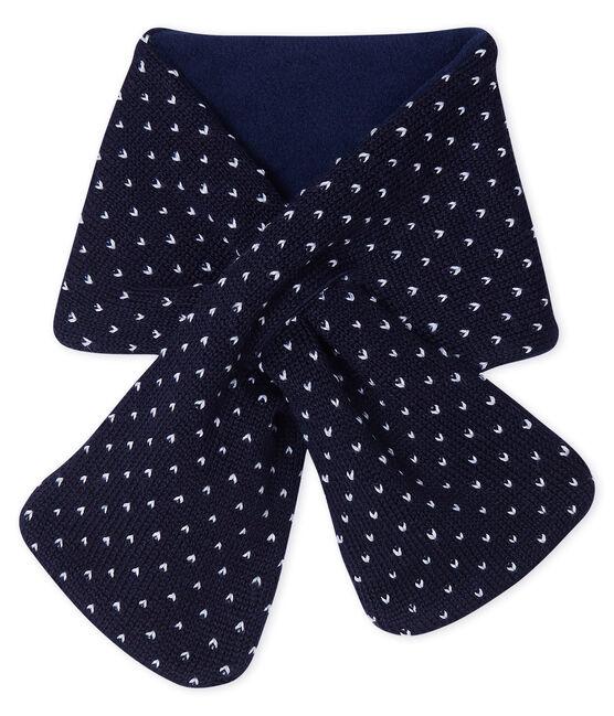 Sciarpa bebè unisex foderata in pile blu Smoking / bianco Marshmallow
